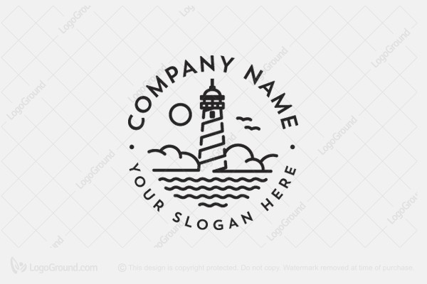 Exclusive Logo 161597, Line Art Lighthouse Logo.