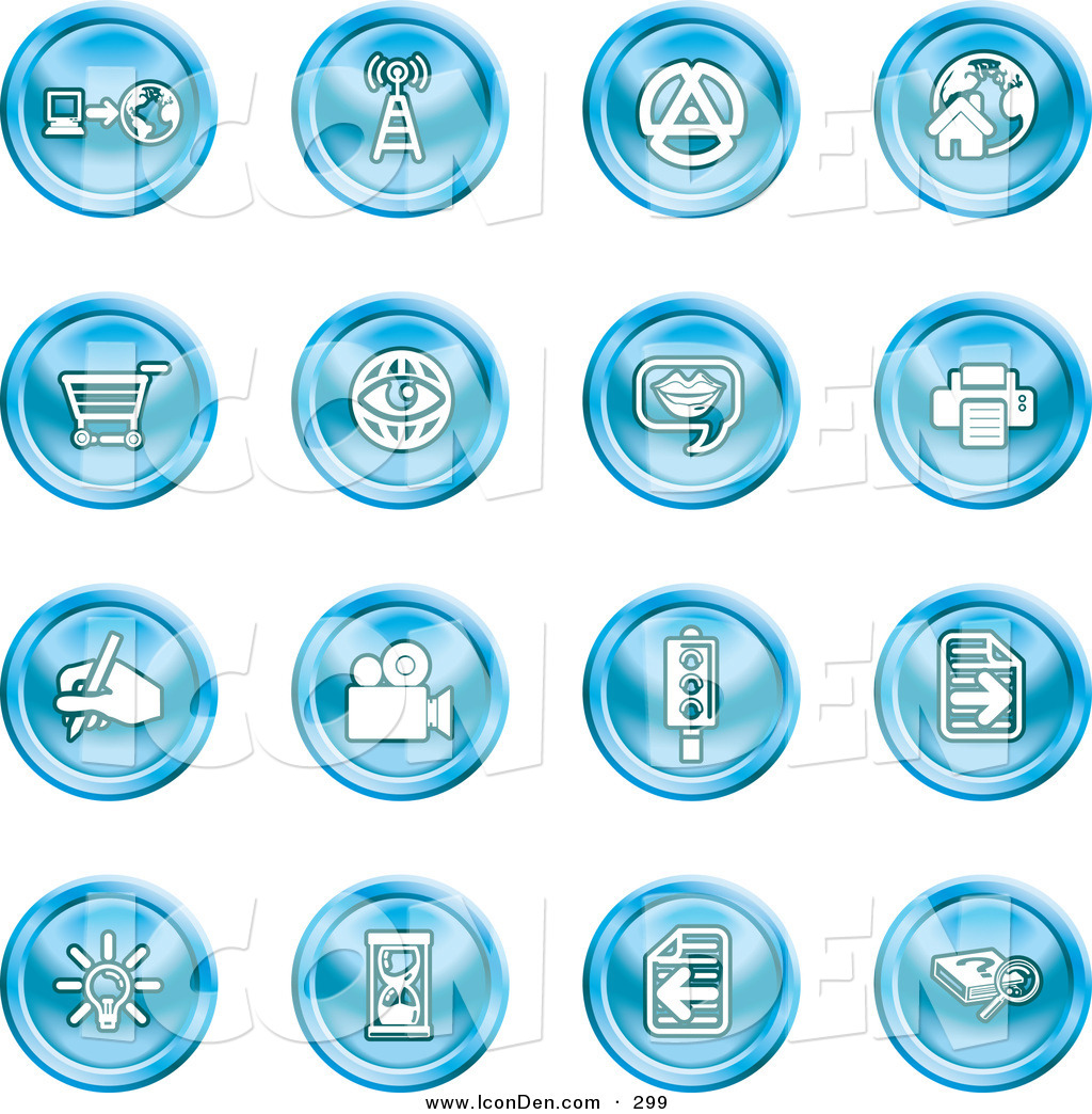 Clip Art of a Collection of Sixteen Blue Icons of a Communications.