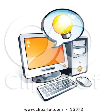 Clipart Illustration of a Light Bulb On An Instant Messenger.