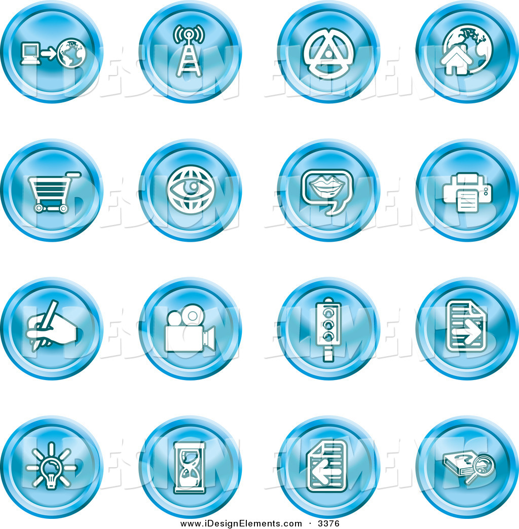 Clip Art of a Set of 16 Blue Icons of a Communications Tower, Www.