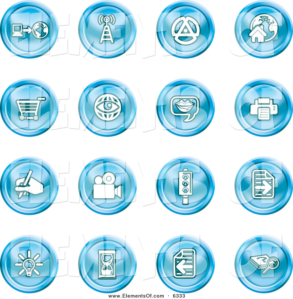 Vector Illustration of a Set of Sixteen Blue Icons of a.