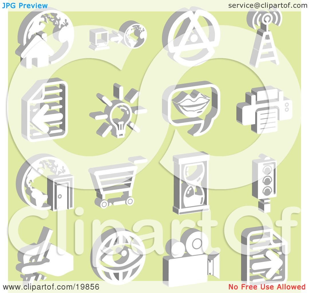 Clipart Illustration of a Collection Of White Icons Of A Home With.