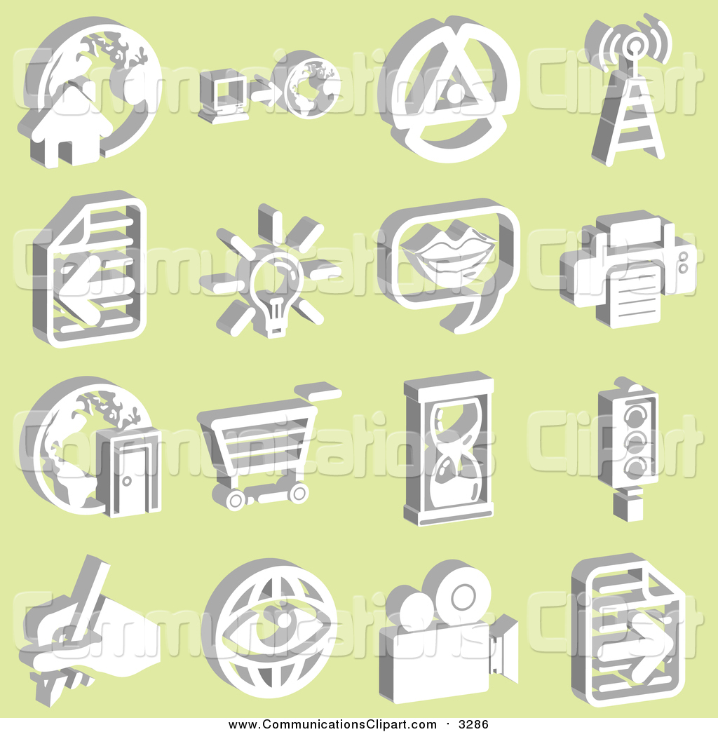Communication Clipart of a Home with a Globe, Computer, Tower.