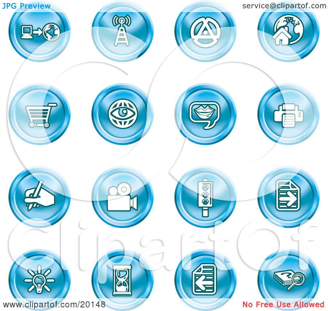 Clipart Illustration of a Collection Of Blue Icons Of A.