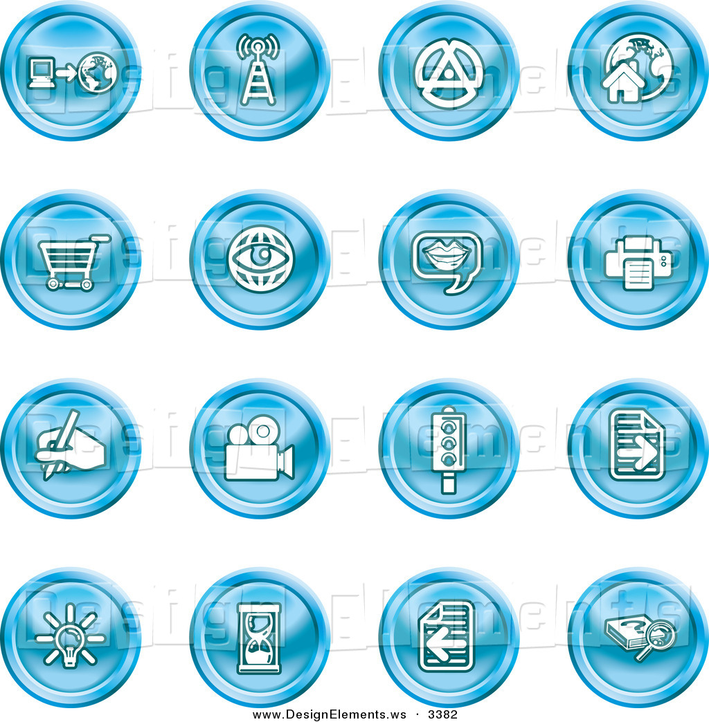 Design Element Clipart of a Collection of 16 Blue Icons of a.