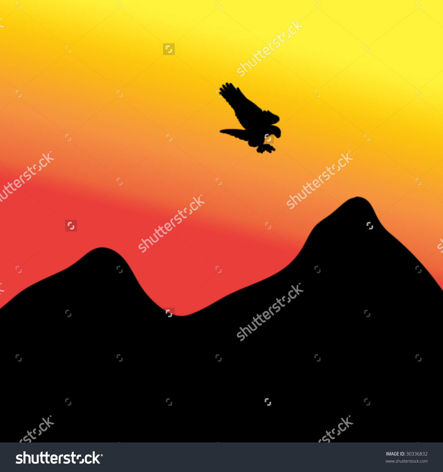 Mountain silhouette abstract clipart.