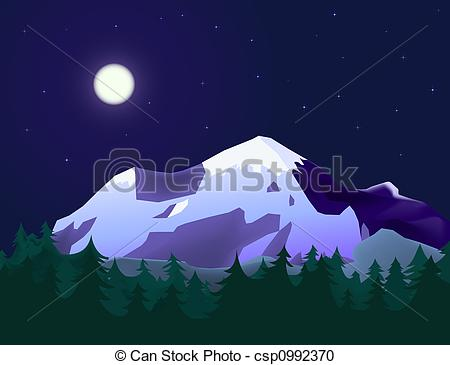 Stock Illustration of mountain landscape with fir forest in moon.