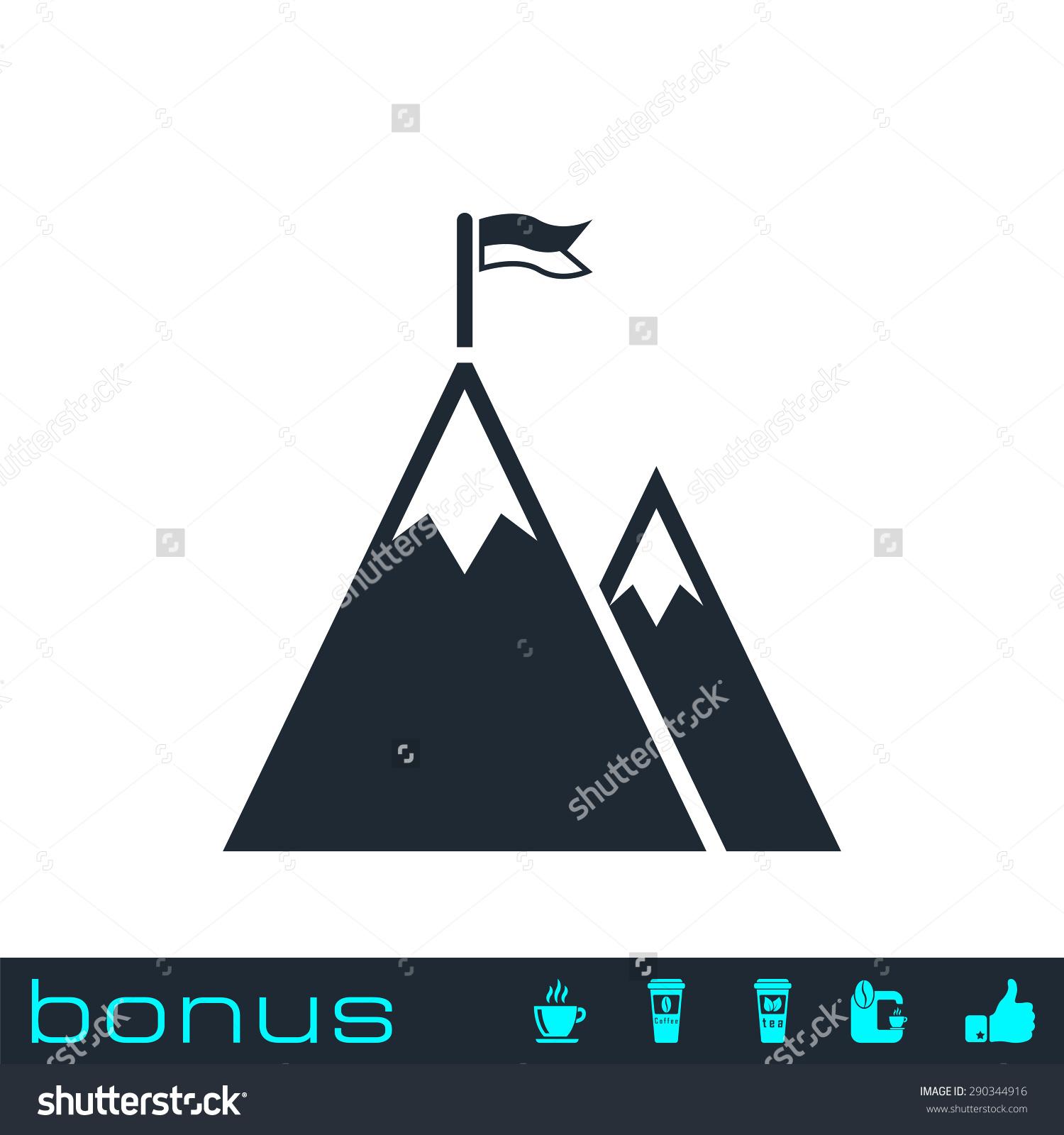 Flag on a mountain clipart.