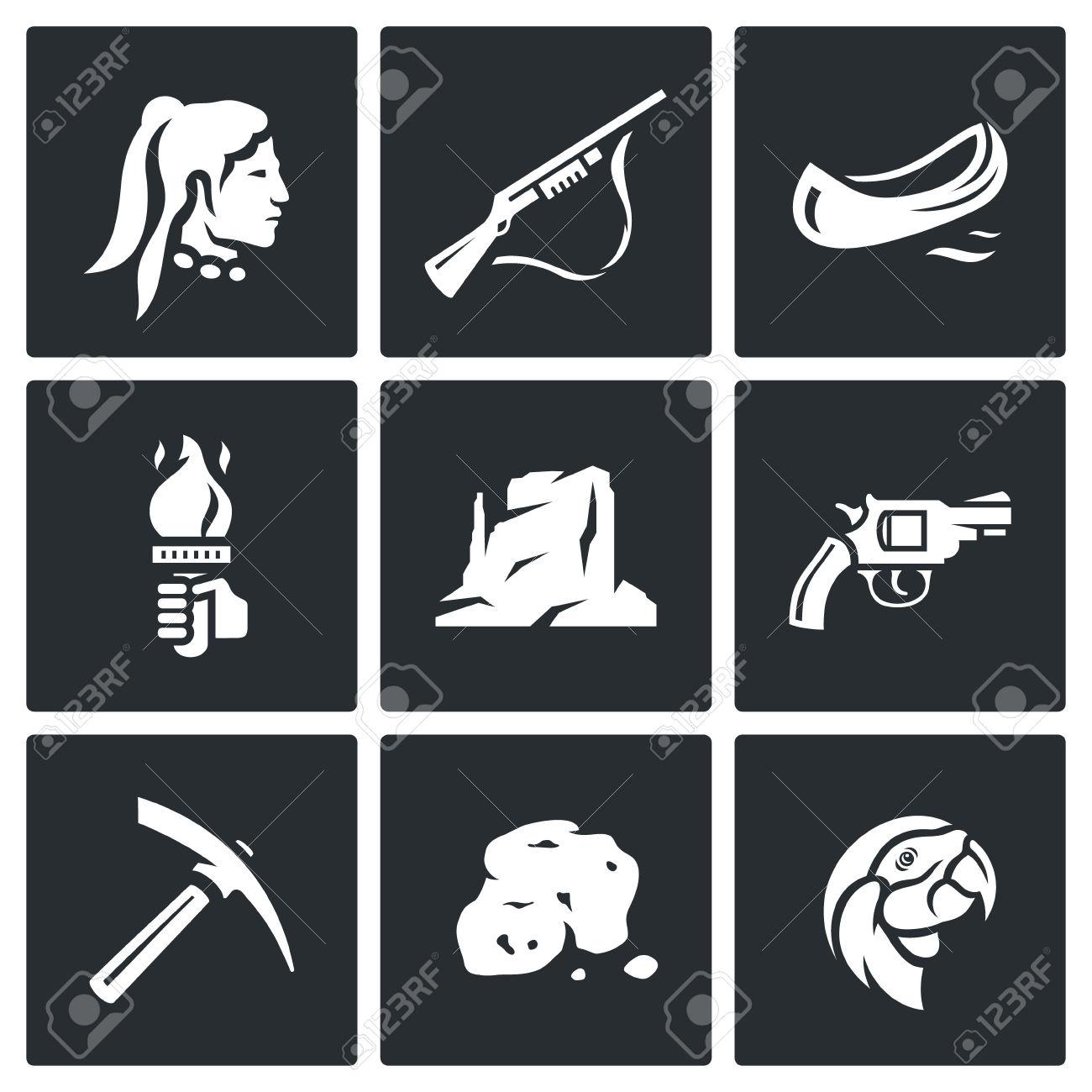 Red Indian, Weapon, Boat, Light, Mountain, Handgun, Pick, Ore.