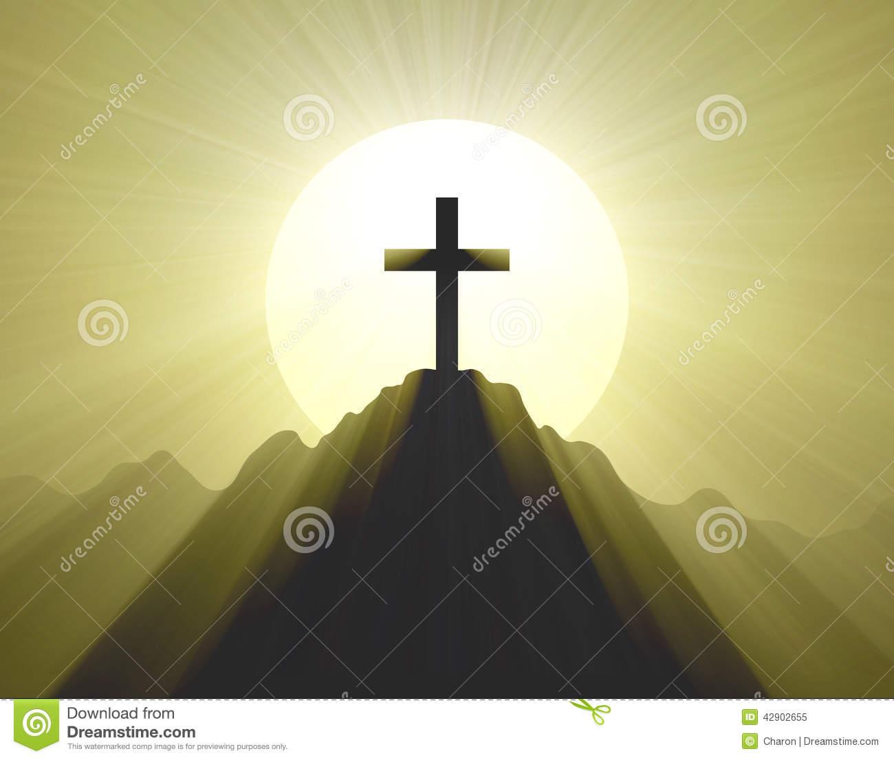 Mountain Top Cross Holy Light Halo Stock Illustration.