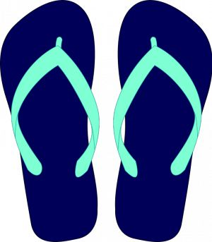 Vector graphics of light blue and blue flipflops..