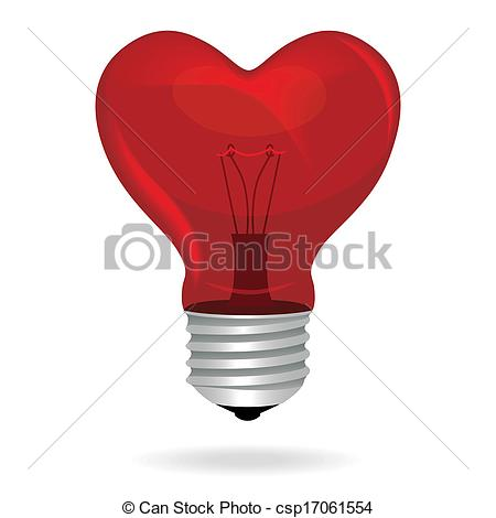 Clipart Vector of Heart love light bulb vector isolated object.