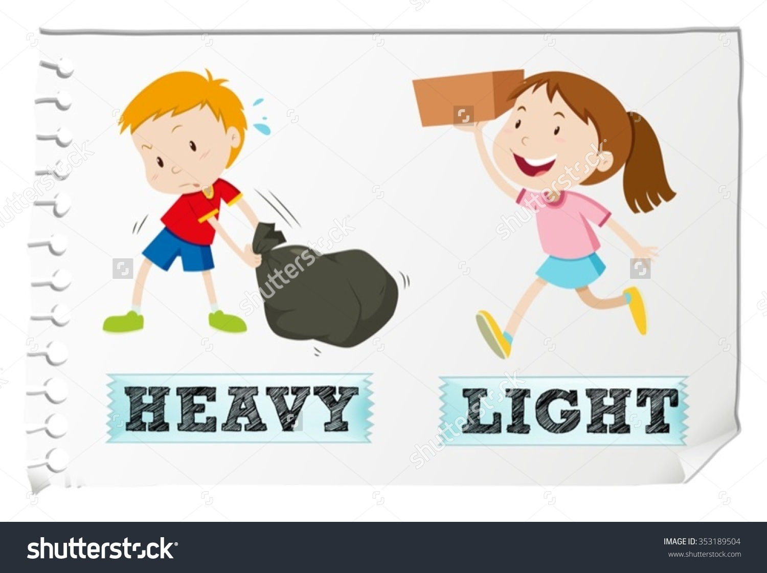 Heavy and light objects clipart.