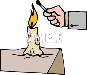 Man Using a Candle To Light a Burnt Out Match Clip Art Image.