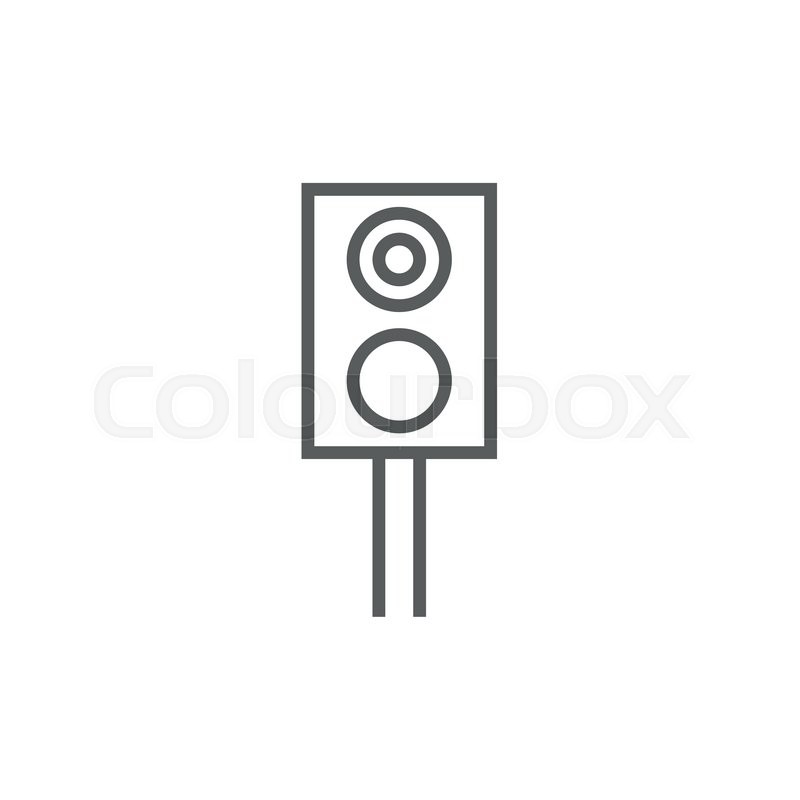 Railway traffic light thick line icon with pointed corners and.