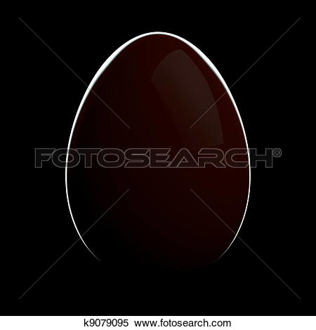 Stock Illustration of Red Egg with Rim Light on Black Background.
