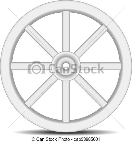 Vector Clipart of Vintage wheel in light design.