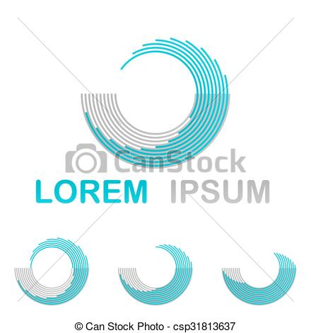 Vectors of Light blue water technology logo design set csp31813637.
