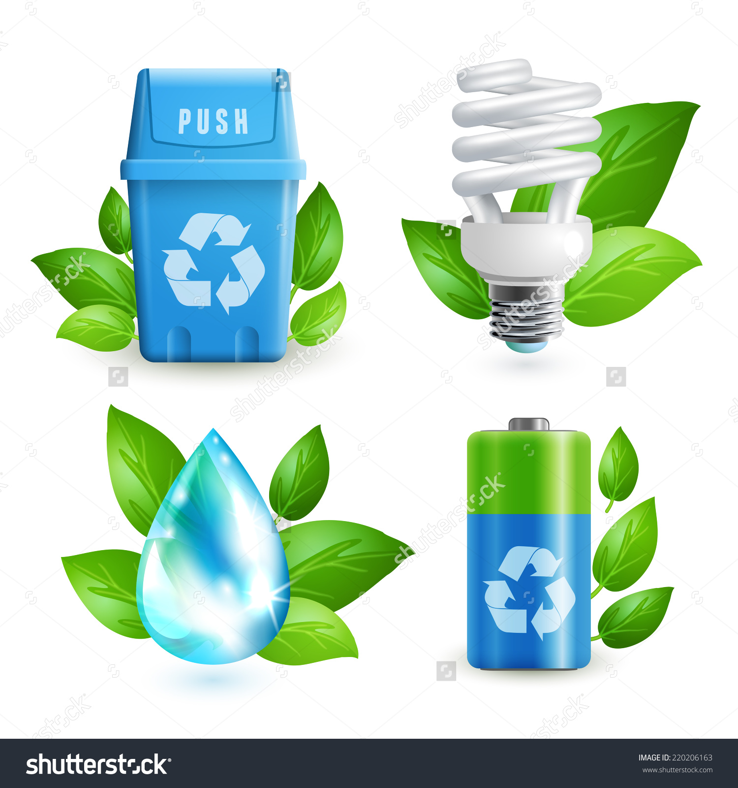 Ecology Waste Colored Icons Set Trash Stock Vector 220206163.