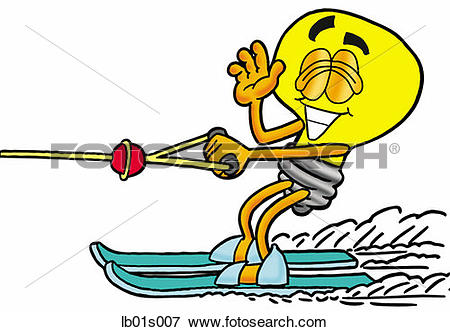 Clip Art of Light bulb water skiing lb01s007.