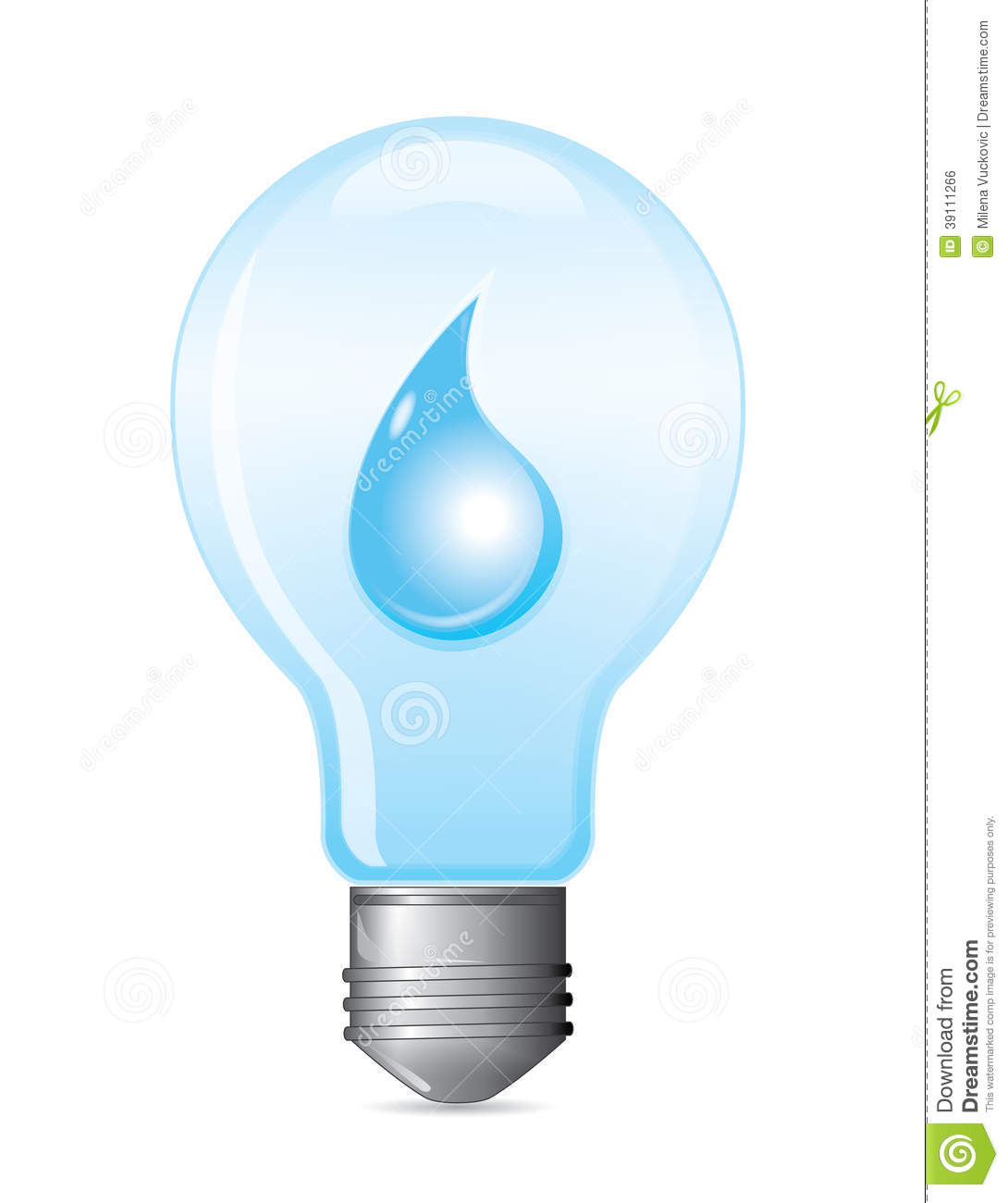 Light Bulb With Water Drop Stock Photo.