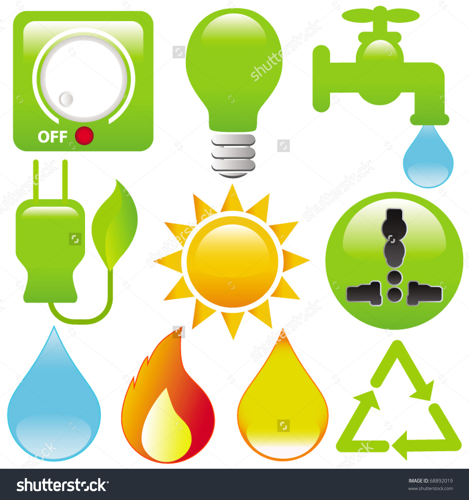 Vector Energy Saving Light Water Electricity Stock Vector 68892019.