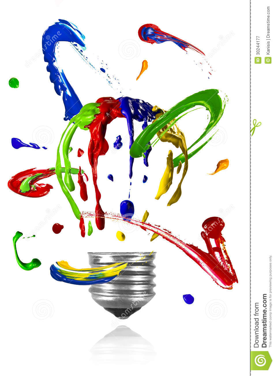 Paint Orbit Around Painted Light Bulb Royalty Free Stock.