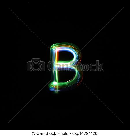 Stock Photo of Letter B Light Painted.