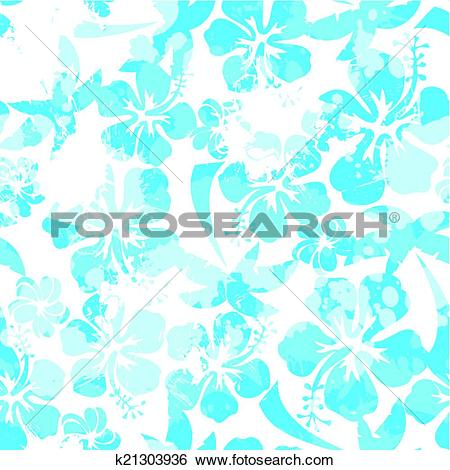 Clip Art of Light blue paint effect hibiscus seamless pattern.