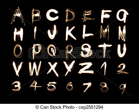 Stock Photo of Alphabet and Numbers Light Painting.