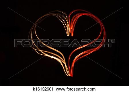 Clipart of Light painting heart shape over black background.