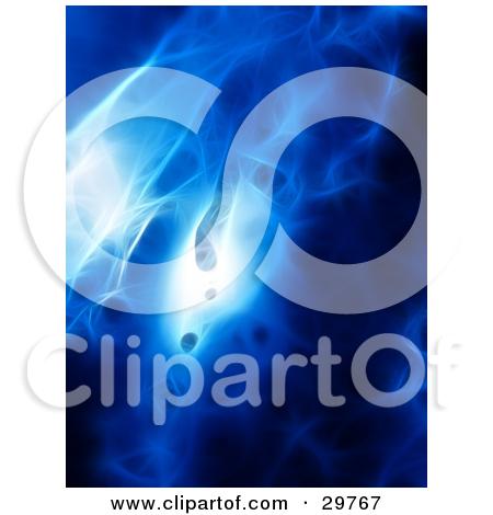 Clipart Illustration of a Blue Bursting Fractal Vortex Of Light On.