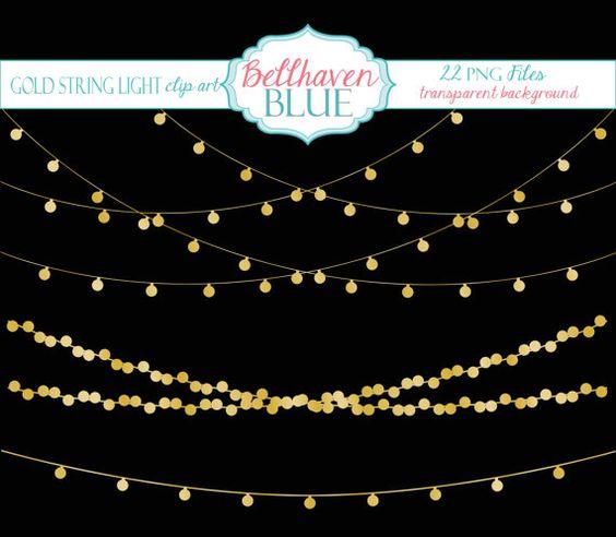 Gold String Light Clipart.