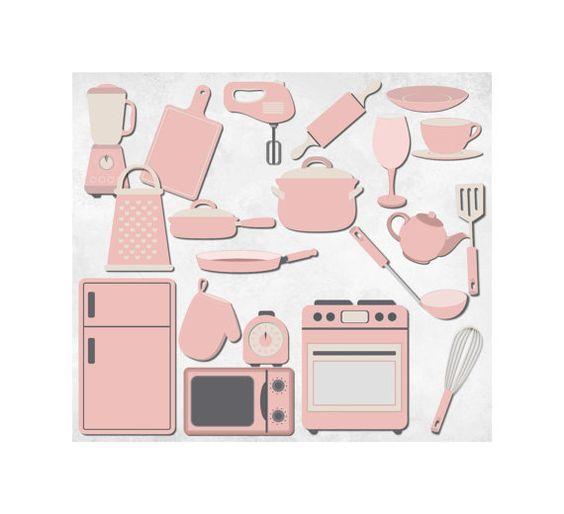 Light Pink Kitchen Clipart Clip Art Graphics, Kitchen Appliances.