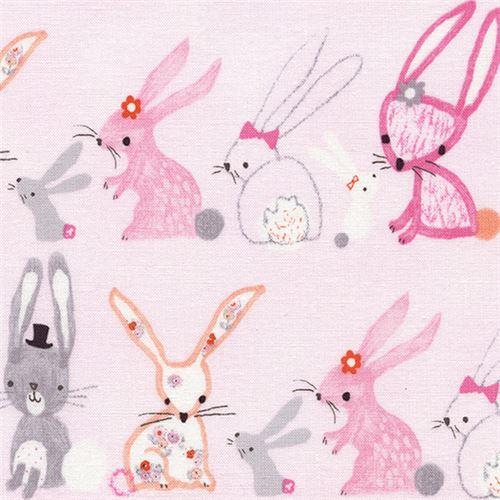 light pink cute grey peach pink rabbit fabric by Timeless.