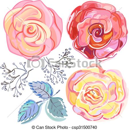 EPS Vector of Peach pink red roses set isolated on light.