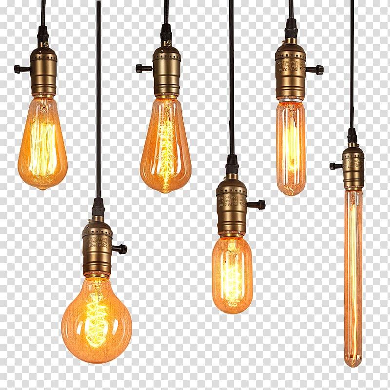 Six pendant lamps illustration, Lighting Edison light bulb.