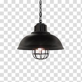 Round black pendant lamp transparent background PNG clipart.