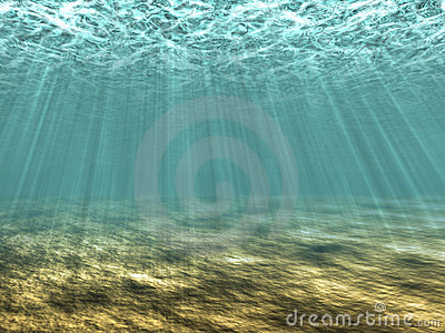 Rays Of Light Underwater Royalty Free Stock Photography.
