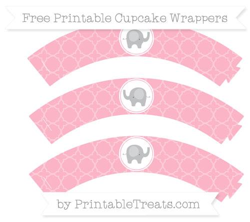 Free Pastel Light Pink Quatrefoil Pattern Baby Elephant Cupcake.