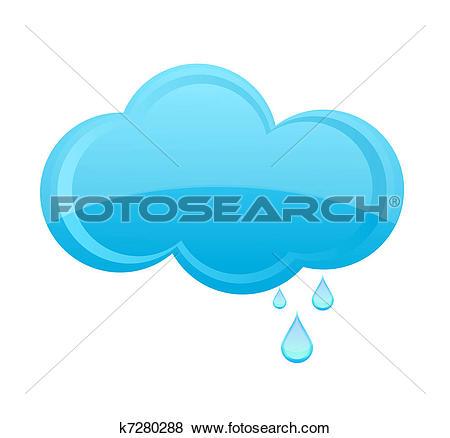 Clipart of hexagonal cloud with rain drops k14360011.