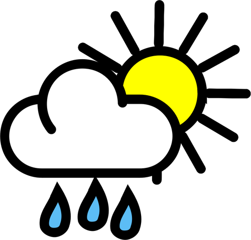 Vector graphics of light rain with sunny intervals weather color.