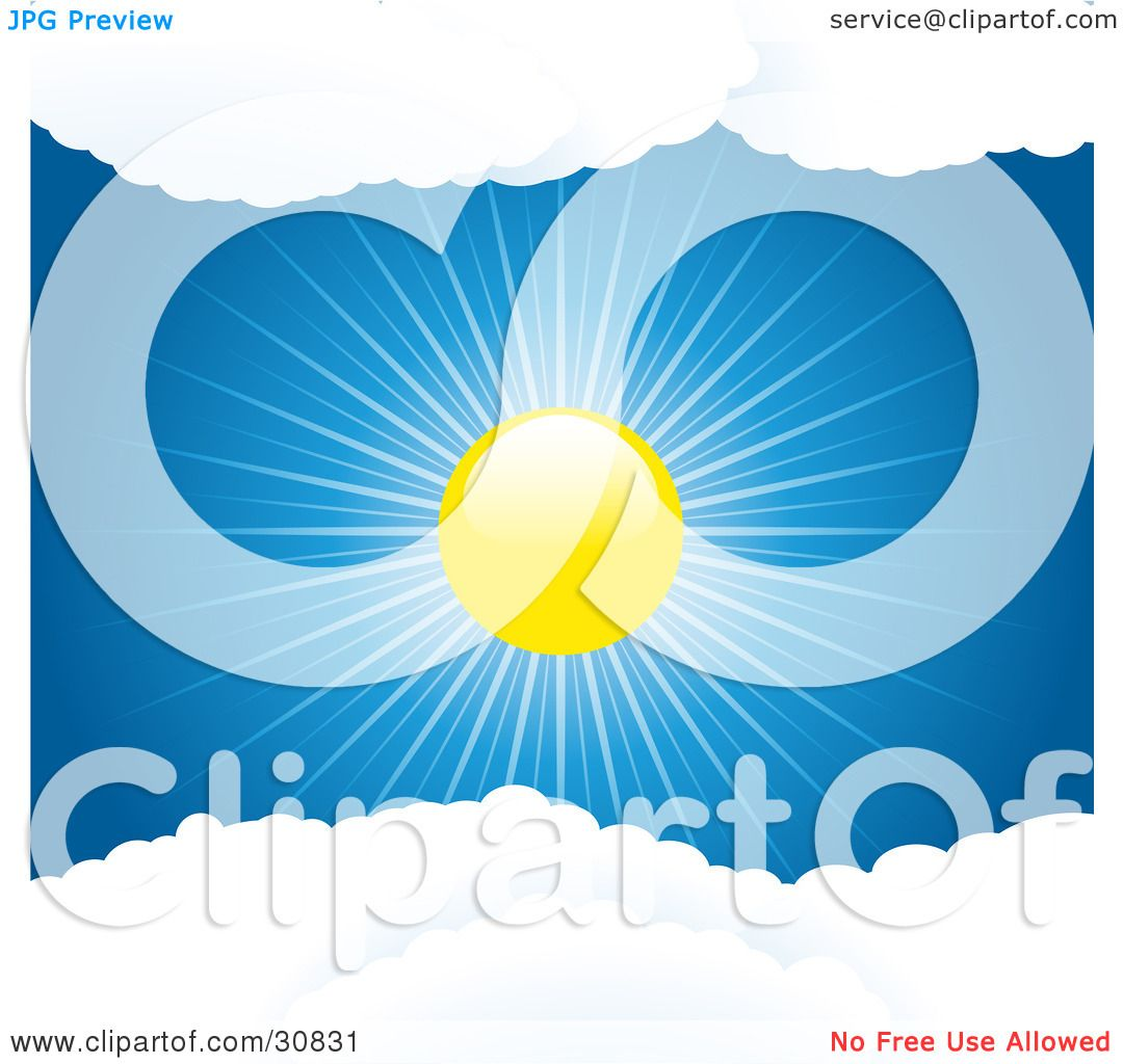 Clipart Illustration of a Brightly Shining Sun Casting Rays Of.