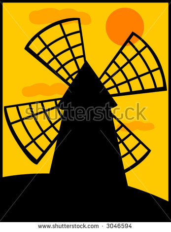 Old Windmill Silhouette Stock Photos, Royalty.