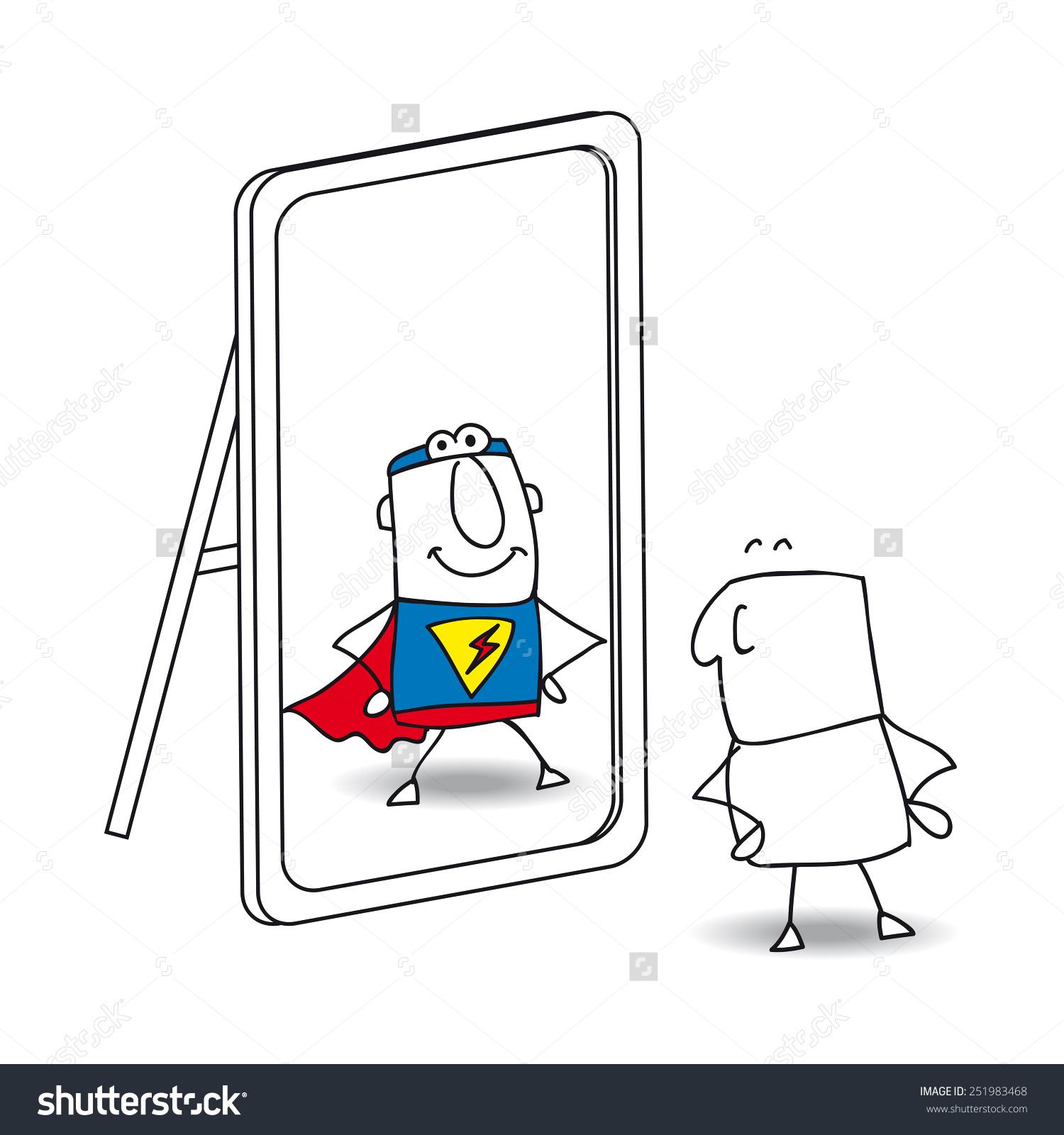 Free Superhero Reflection Clipart.
