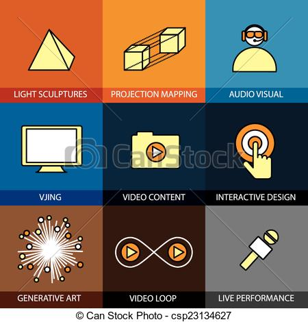 Vector Illustration of Flat design set of vector line icons of.
