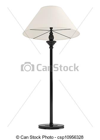 Clip Art of Classic standing lamp with a black base and white.