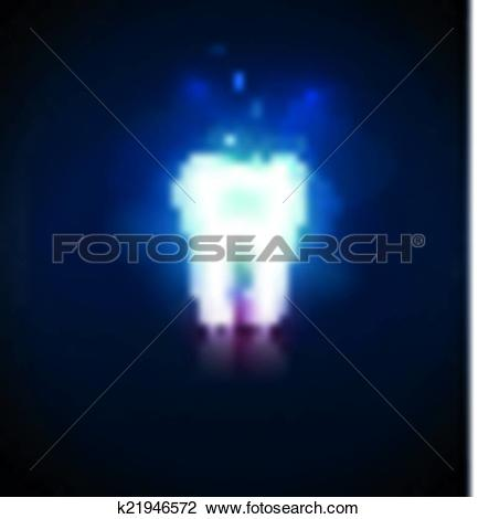 Clipart of White tooth on a blury blue background with light.