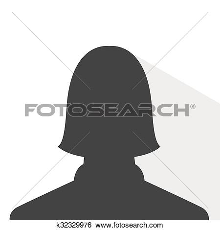 Clip Art of female avatar profile picture, silhouette light shadow.