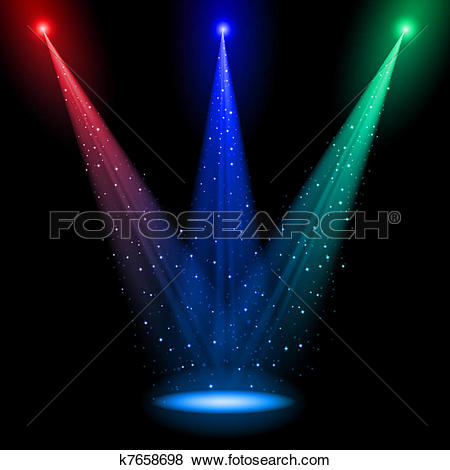 Clip Art of Three conical RGB shafts of light k7658698.